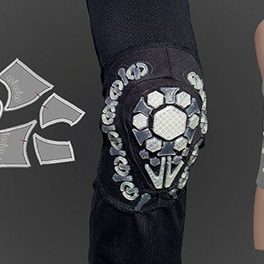 The individual knee pad elements on the pattern, finished knee pad with its 3D-printed structural elements and simulation of product